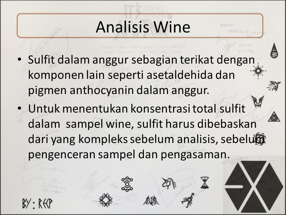 Analisis Wine Sulfit dalam anggur sebagian terikat dengan komponen lain seperti asetaldehida dan pigmen anthocyanin dalam anggur. Untuk menentukan kon
