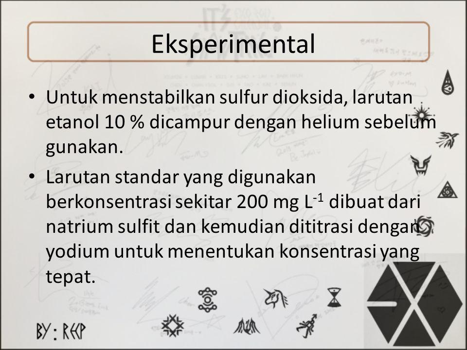 Eksperimental Untuk menstabilkan sulfur dioksida, larutan etanol 10 % dicampur dengan helium sebelum gunakan. Larutan standar yang digunakan berkonsen