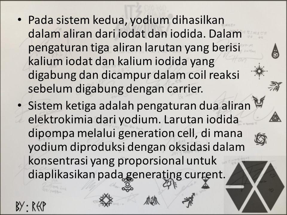 Pada sistem kedua, yodium dihasilkan dalam aliran dari iodat dan iodida. Dalam pengaturan tiga aliran larutan yang berisi kalium iodat dan kalium iodi