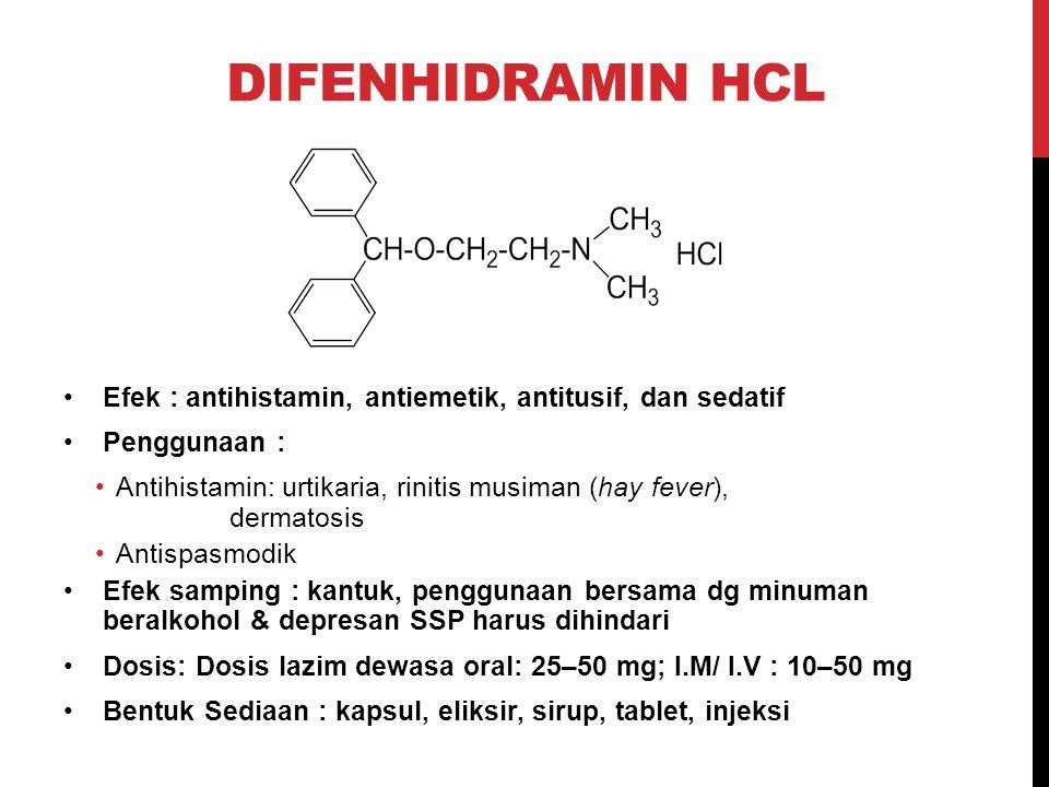 DIFENHIDRAMIN HCL Efek : antihistamin, antiemetik, antitusif, dan sedatif Penggunaan : Antihistamin: urtikaria, rinitis musiman (hay fever), dermatosi