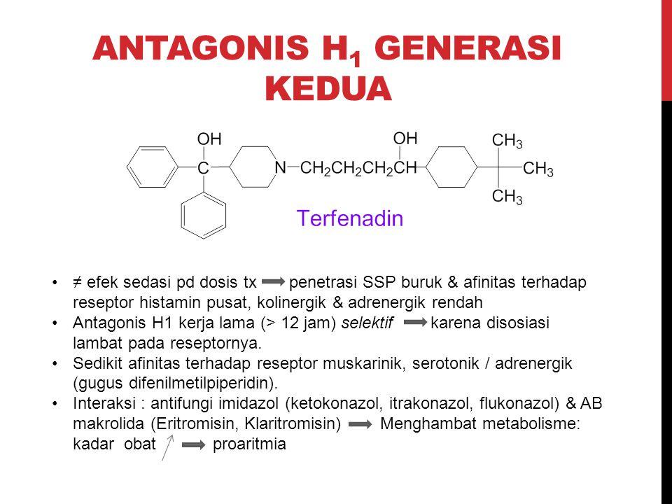 ANTAGONIS H 1 GENERASI KEDUA ≠ efek sedasi pd dosis tx penetrasi SSP buruk & afinitas terhadap reseptor histamin pusat, kolinergik & adrenergik rendah
