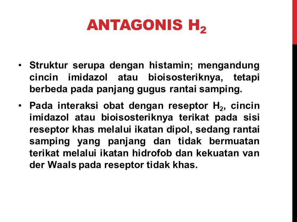 ANTAGONIS H 2 Struktur serupa dengan histamin; mengandung cincin imidazol atau bioisosteriknya, tetapi berbeda pada panjang gugus rantai samping. Pada