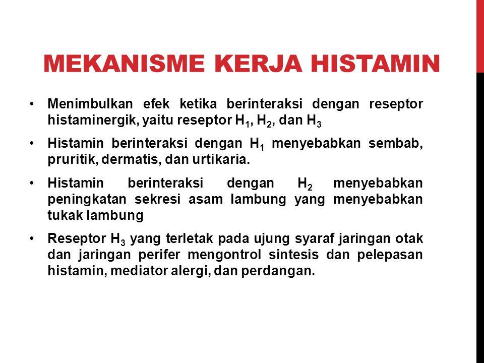 MEKANISME KERJA HISTAMIN Menimbulkan efek ketika berinteraksi dengan reseptor histaminergik, yaitu reseptor H 1, H 2, dan H 3 Histamin berinteraksi de