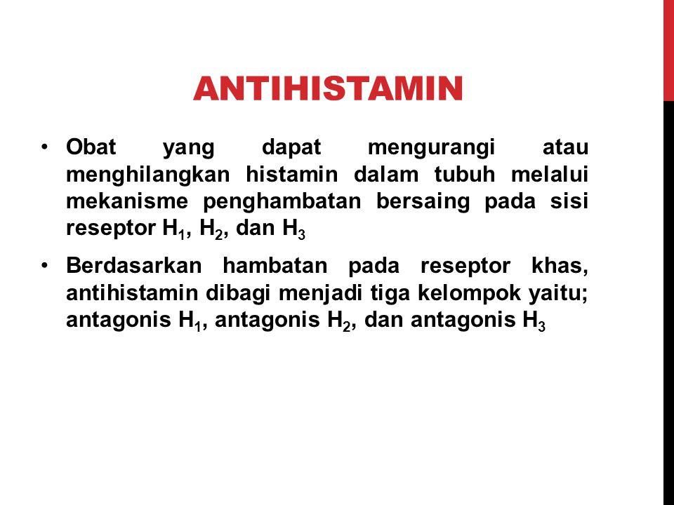 ANTAGONIS H 1 Ar: gugus aril (fenil, fenil tersubsitusi, dan heteroaril) Ar': gugus aril kedua R dan R': gugus alkil X: gugus isosterik, seperti O, N, dan CH