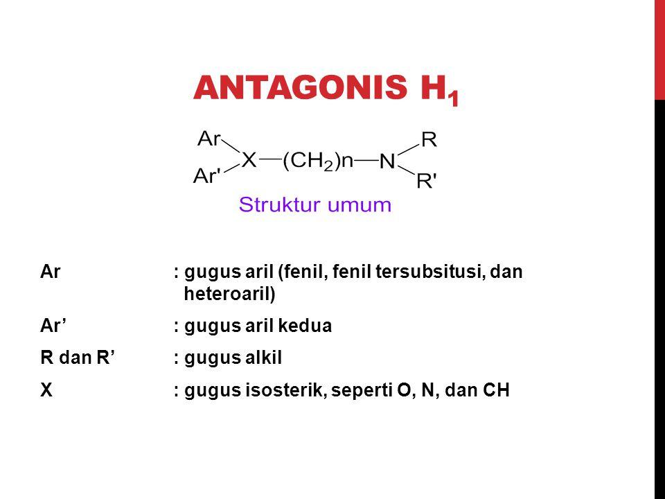 ANTAGONIS H 1 Ar: gugus aril (fenil, fenil tersubsitusi, dan heteroaril) Ar': gugus aril kedua R dan R': gugus alkil X: gugus isosterik, seperti O, N,