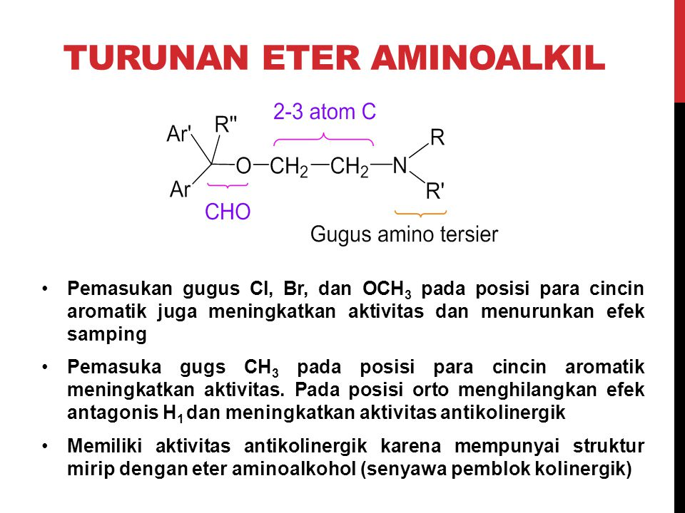 TURUNAN ETER AMINOALKIL Pemasukan gugus Cl, Br, dan OCH 3 pada posisi para cincin aromatik juga meningkatkan aktivitas dan menurunkan efek samping Pem