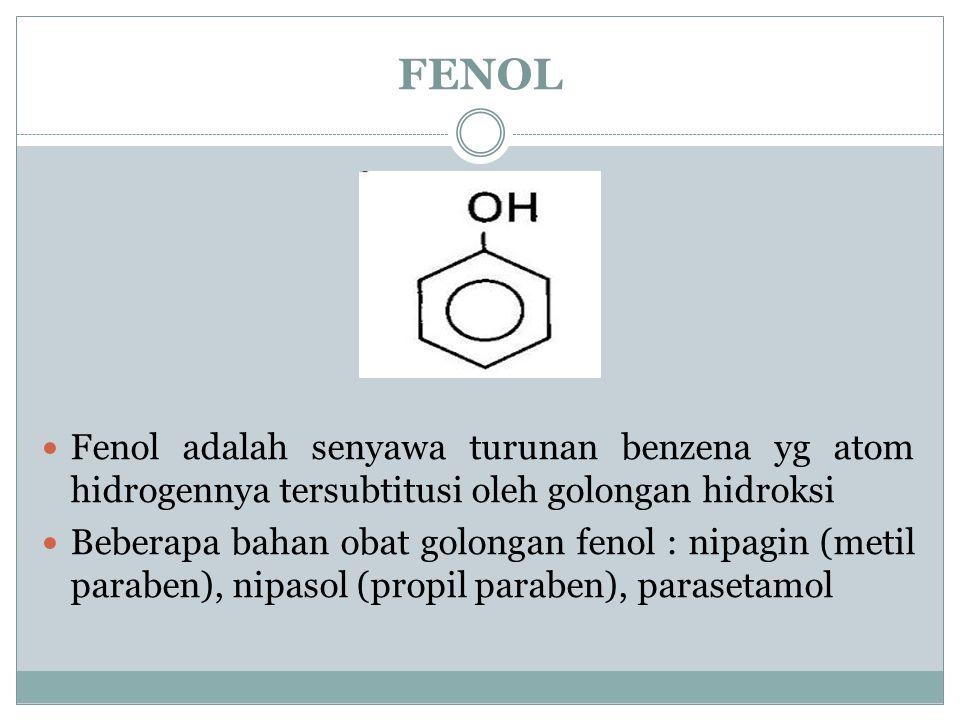 FENOL Fenol adalah senyawa turunan benzena yg atom hidrogennya tersubtitusi oleh golongan hidroksi Beberapa bahan obat golongan fenol : nipagin (metil