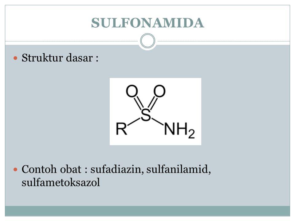SULFONAMIDA Struktur dasar : Contoh obat : sufadiazin, sulfanilamid, sulfametoksazol