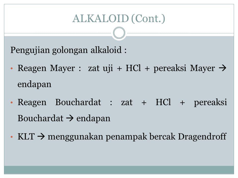 Pengujian golongan alkaloid : Reagen Mayer : zat uji + HCl + pereaksi Mayer  endapan Reagen Bouchardat : zat + HCl + pereaksi Bouchardat  endapan KL