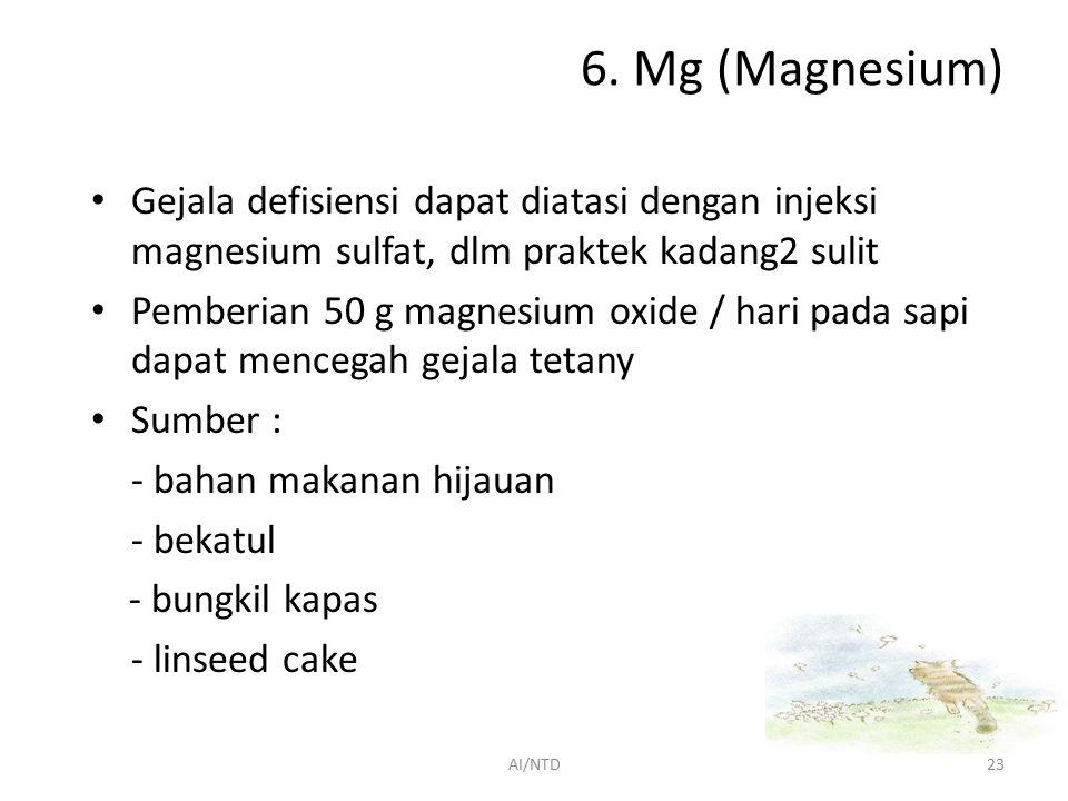 6. Mg (Magnesium) 70 % dlm rangka, sisanya dlm jaringan lunak & cairan tubuh Fungsi : 1.Komponen esensial dlm tulang dan gigi 2.Ion Mg mengaktivir beb