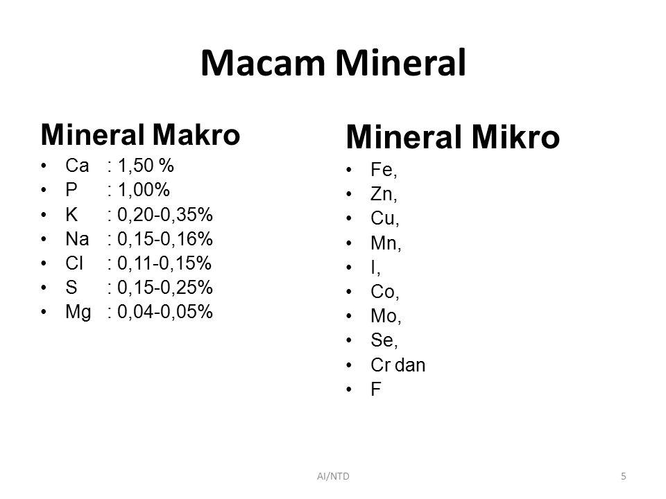 Macam Mineral Mineral Makro Ca: 1,50 % P: 1,00% K: 0,20-0,35% Na: 0,15-0,16% Cl: 0,11-0,15% S : 0,15-0,25% Mg: 0,04-0,05% Mineral Mikro Fe, Zn, Cu, Mn, I, Co, Mo, Se, Cr dan F AI/NTD5
