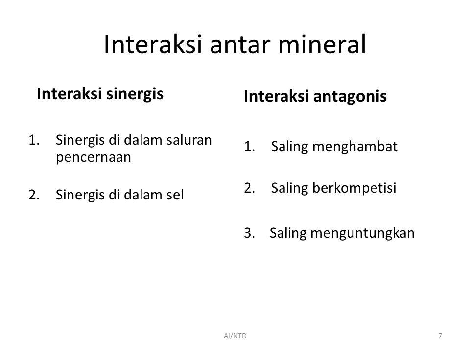 Interaksi antar mineral Interaksi sinergis 1.Sinergis di dalam saluran pencernaan 2.Sinergis di dalam sel Interaksi antagonis 1.Saling menghambat 2.Saling berkompetisi 3.