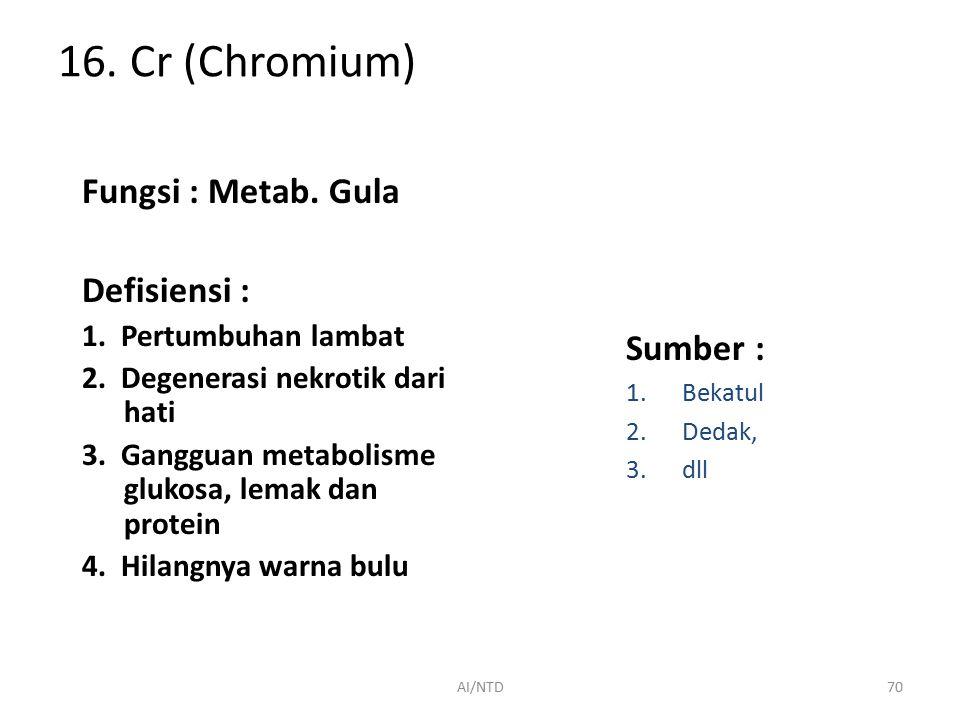 15. Mo (Molibdenum) Fungsi : 1.Penyusun xanthin oxidase (metab. Purin dlm hati, intestinum & air susu) 2.Penyusun dari enzim liver aldehyde oksidase G
