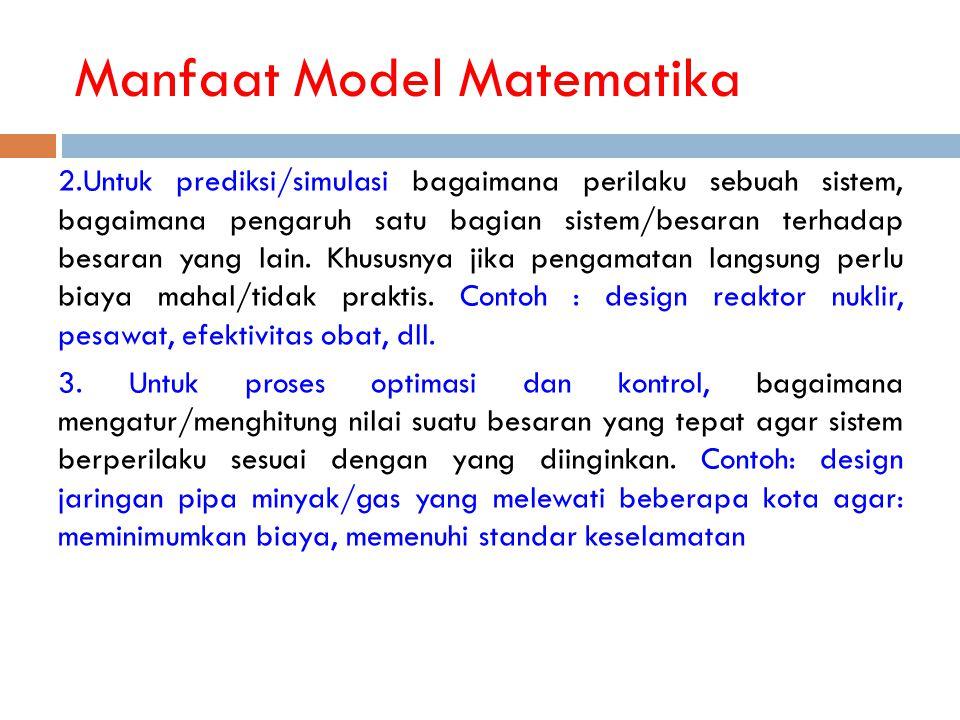 Manfaat Model Matematika 2.Untuk prediksi/simulasi bagaimana perilaku sebuah sistem, bagaimana pengaruh satu bagian sistem/besaran terhadap besaran ya