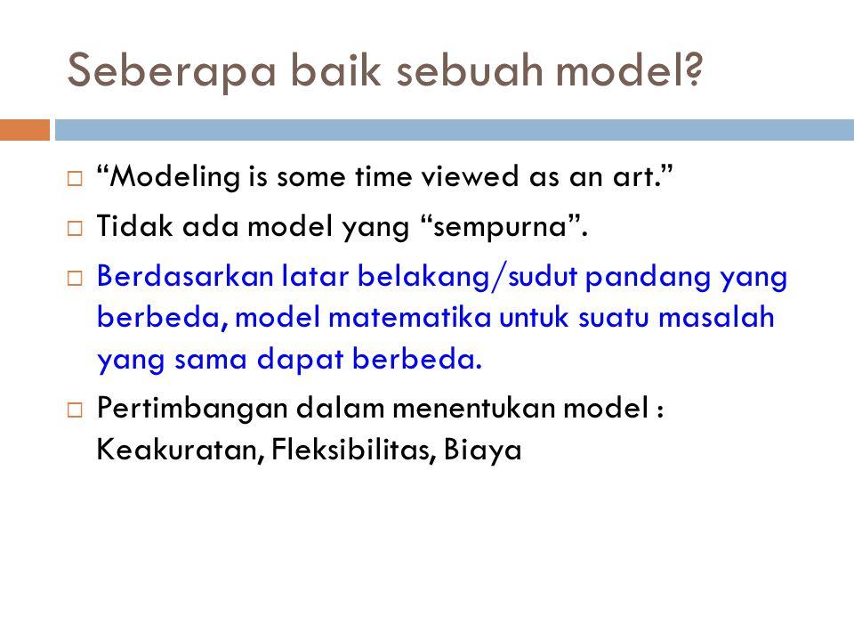"Seberapa baik sebuah model?  ""Modeling is some time viewed as an art.""  Tidak ada model yang ""sempurna"".  Berdasarkan latar belakang/sudut pandang"