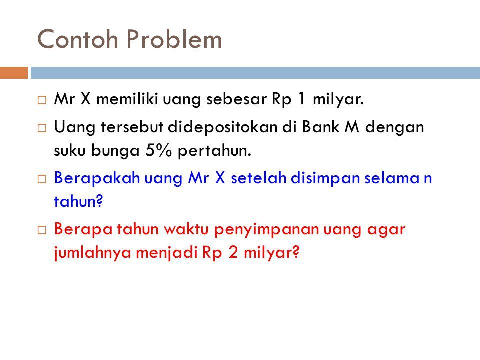 Contoh Problem  Mr X memiliki uang sebesar Rp 1 milyar.  Uang tersebut didepositokan di Bank M dengan suku bunga 5% pertahun.  Berapakah uang Mr X