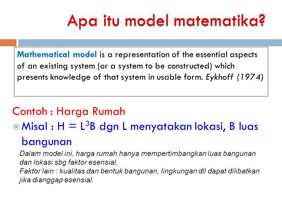 Bentuk Model Matematika Model matematika dapat berupa:  Sistem persamaan : persamaan linear, kuadrat, persamaan differensial biasa, persamaan differensial parsial dll  Proses stokastik/probabilistik : model antrian, rantai Markov, dll  Algoritma : model evolusi, jaringan syaraf, dll