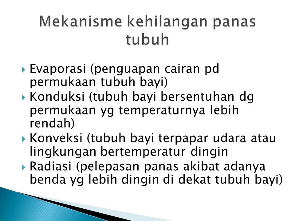  Evaporasi (penguapan cairan pd permukaan tubuh bayi)  Konduksi (tubuh bayi bersentuhan dg permukaan yg temperaturnya lebih rendah)  Konveksi (tubu