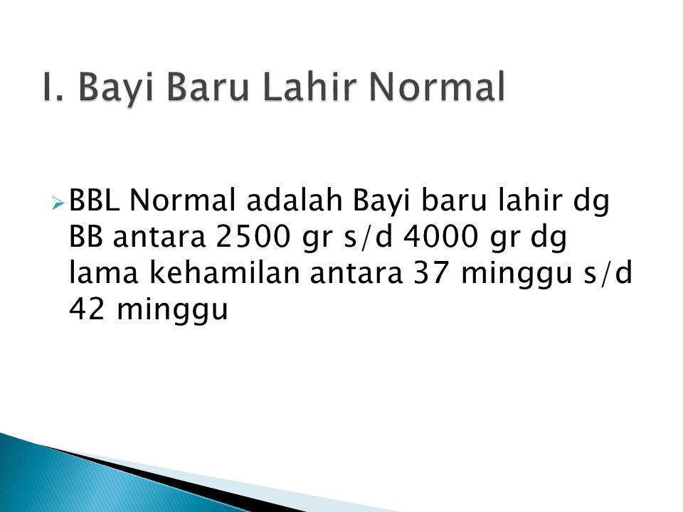  BBL Normal adalah Bayi baru lahir dg BB antara 2500 gr s/d 4000 gr dg lama kehamilan antara 37 minggu s/d 42 minggu