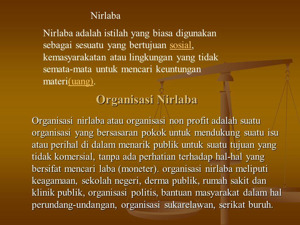 Contoh Organisasi Nirlaba a.Organisasi Kesejahteraan Sosial Masyarakat b.Yayasan Sosial c.