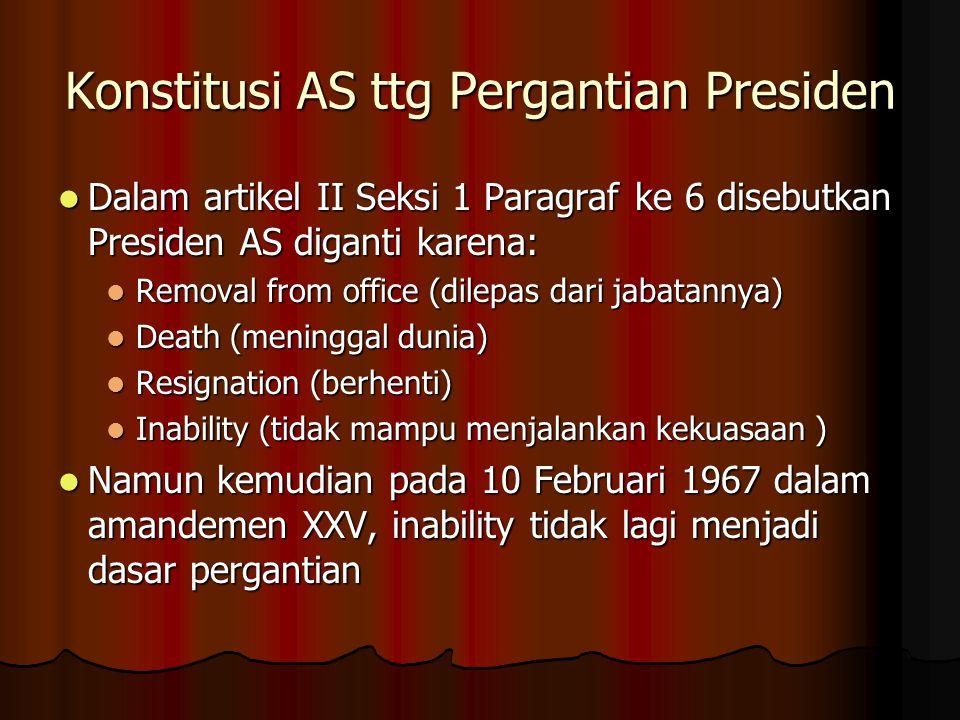 Konstitusi AS ttg Pergantian Presiden Dalam artikel II Seksi 1 Paragraf ke 6 disebutkan Presiden AS diganti karena: Dalam artikel II Seksi 1 Paragraf