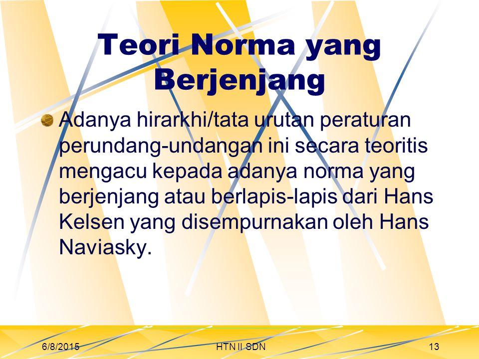 Teori Norma yang Berjenjang Adanya hirarkhi/tata urutan peraturan perundang-undangan ini secara teoritis mengacu kepada adanya norma yang berjenjang atau berlapis-lapis dari Hans Kelsen yang disempurnakan oleh Hans Naviasky.