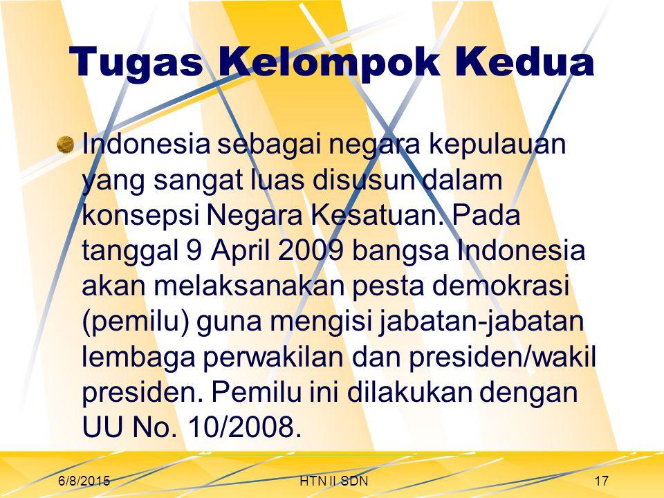 Tugas Kelompok Kedua Indonesia sebagai negara kepulauan yang sangat luas disusun dalam konsepsi Negara Kesatuan.