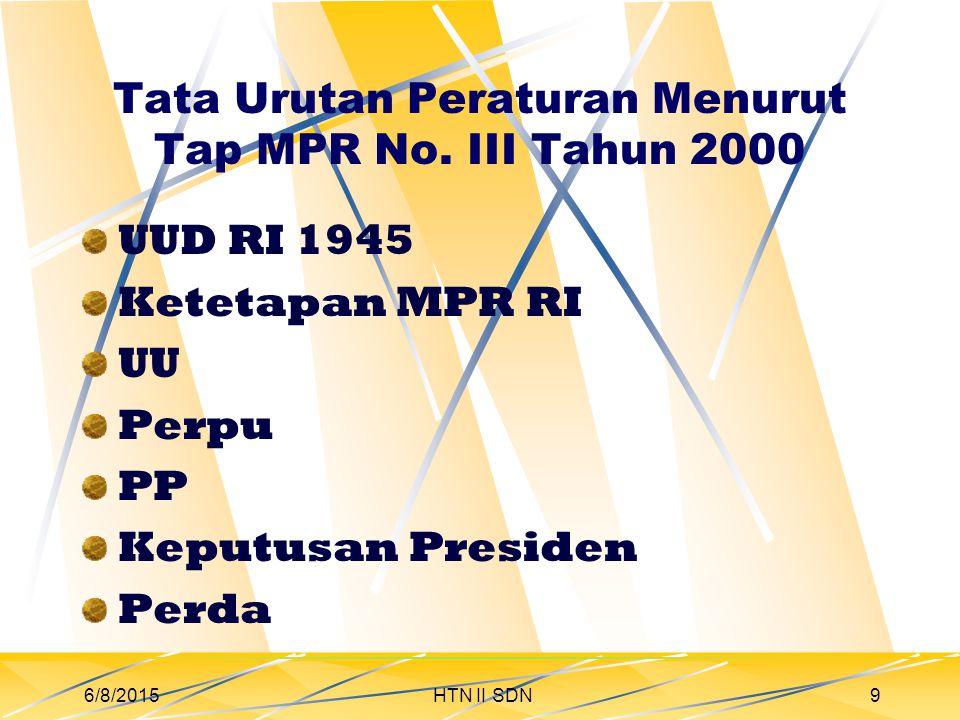 6/8/2015HTN II SDN10 Tata Urutan Peraturan Menurut UU 10 Tahun 2004 1.