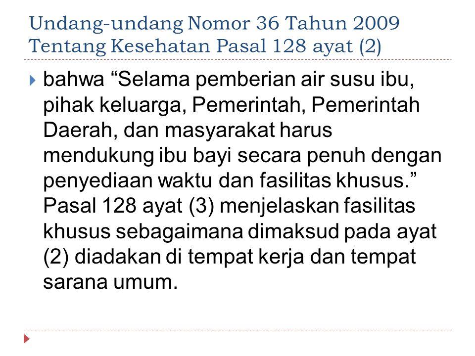 """Undang-undang Nomor 36 Tahun 2009 Tentang Kesehatan Pasal 128 ayat (2)  bahwa """"Selama pemberian air susu ibu, pihak keluarga, Pemerintah, Pemerintah"""