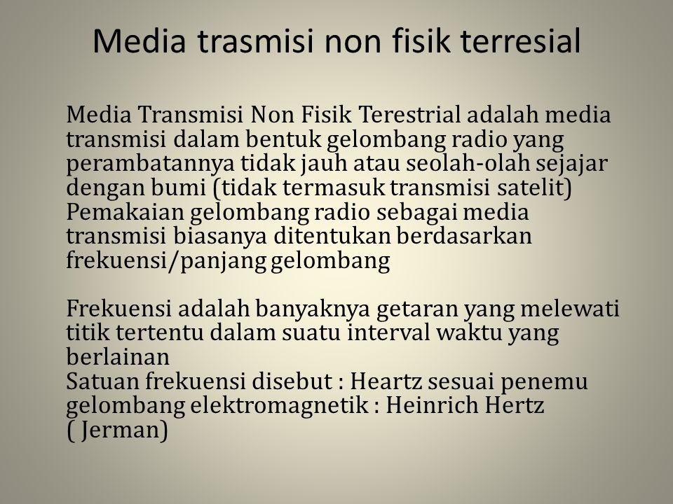 Media trasmisi non fisik terresial Media Transmisi Non Fisik Terestrial adalah media transmisi dalam bentuk gelombang radio yang perambatannya tidak j