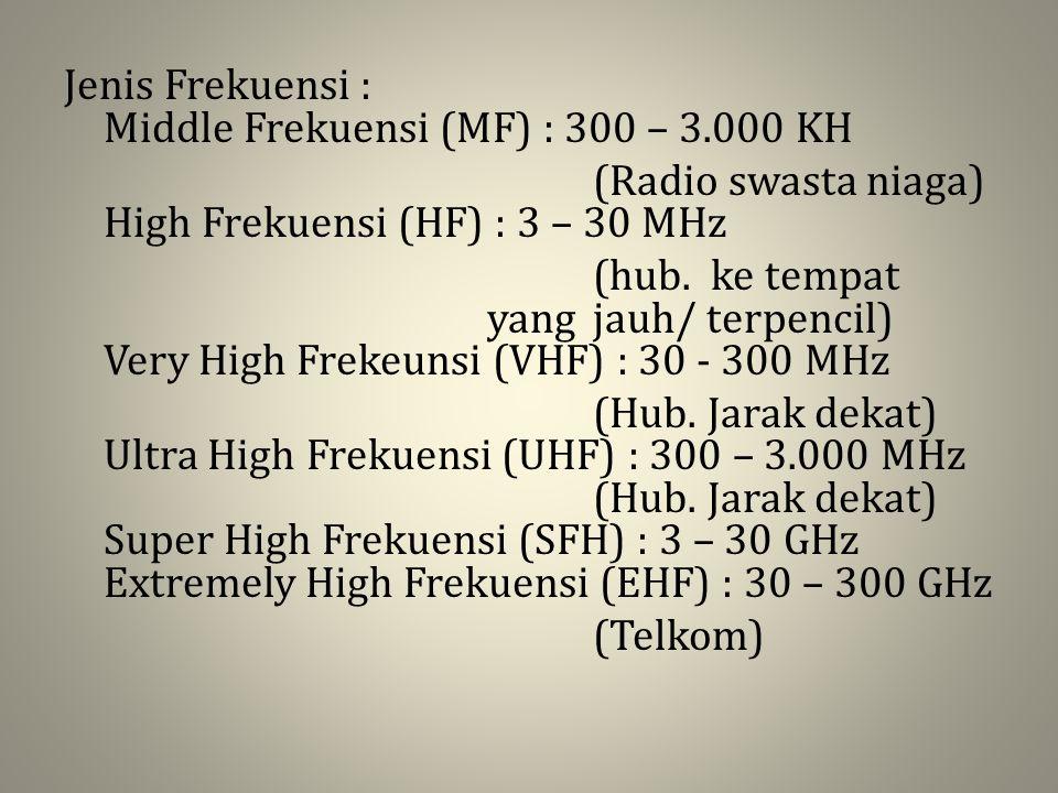 Jenis Frekuensi : Middle Frekuensi (MF) : 300 – 3.000 KH (Radio swasta niaga) High Frekuensi (HF) : 3 – 30 MHz (hub. ke tempat yang jauh/ terpencil) V