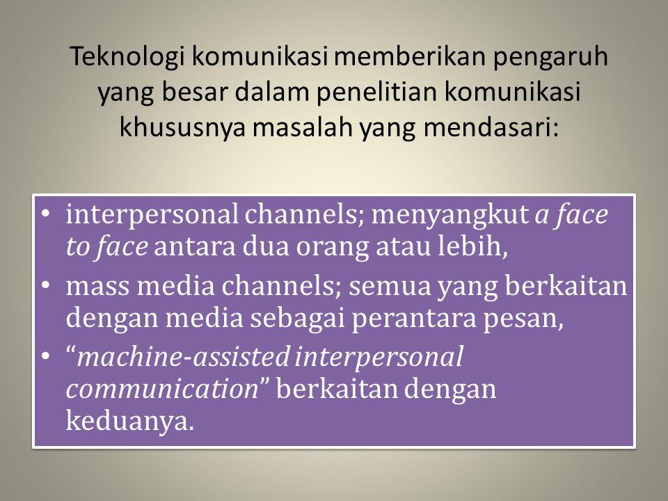 Teknologi komunikasi memberikan pengaruh yang besar dalam penelitian komunikasi khususnya masalah yang mendasari: interpersonal channels; menyangkut a