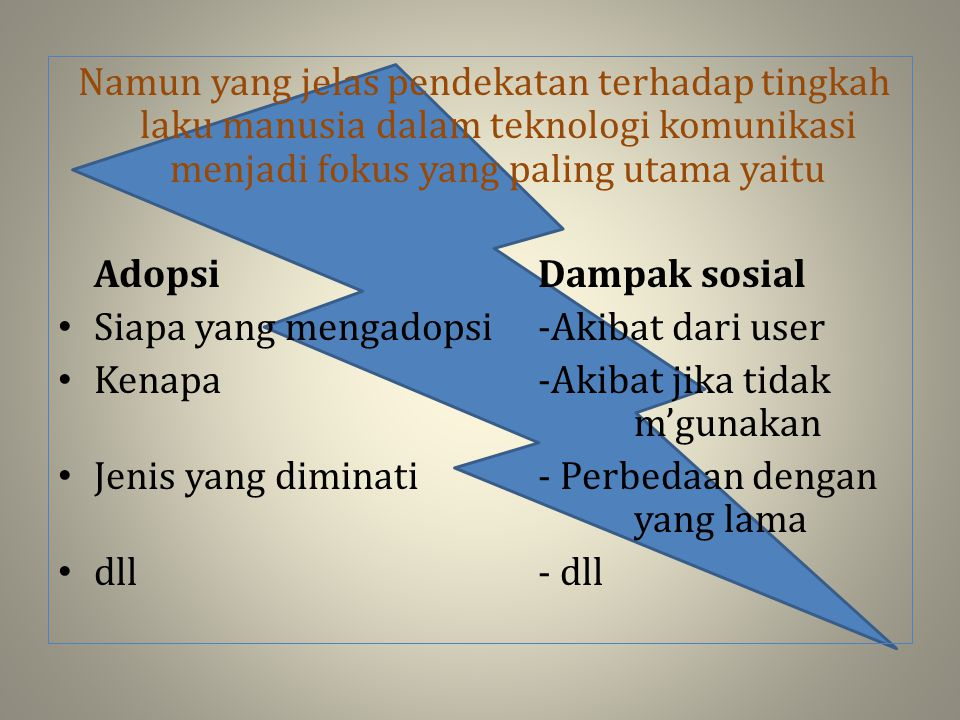 Namun yang jelas pendekatan terhadap tingkah laku manusia dalam teknologi komunikasi menjadi fokus yang paling utama yaitu Adopsi Dampak sosial Siapa