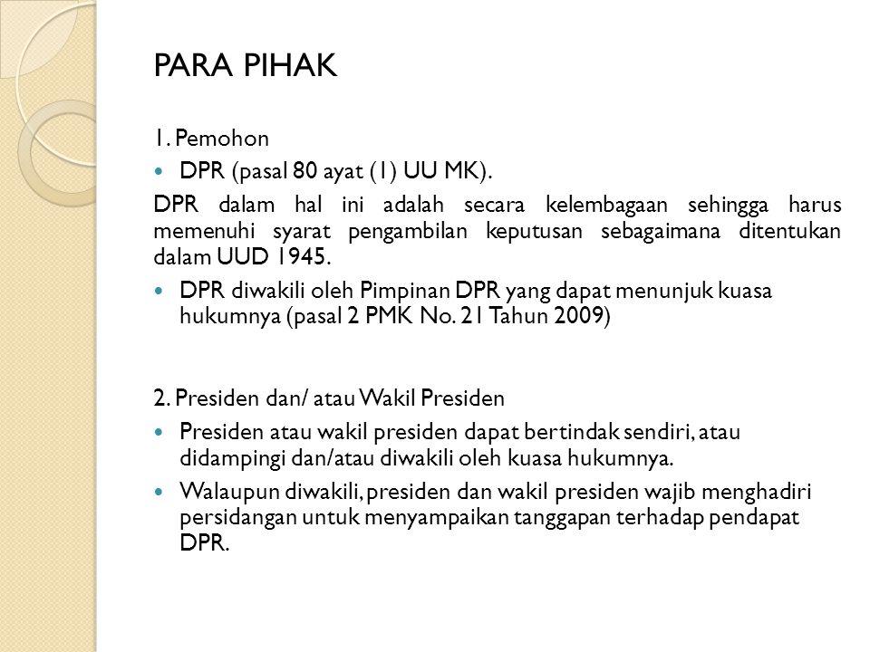 ALASAN PERMOHONAN Berdasarkan Pasal 7A UUD 1945, hanya terdapat 2 kelompok alasan pemberhentian presiden dan atau wakil presiden.