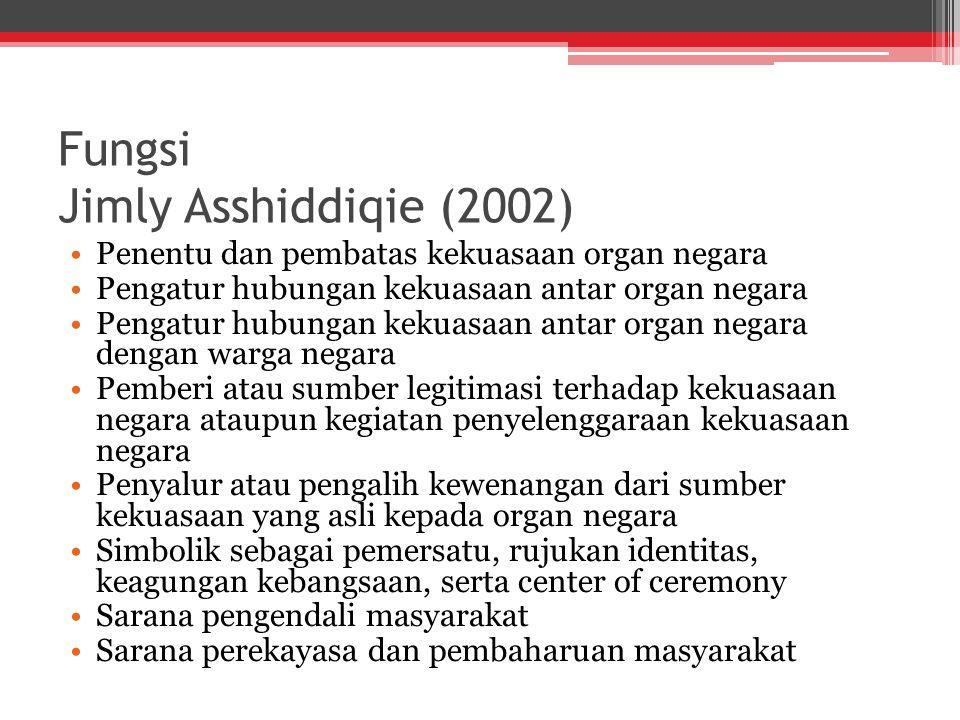Fungsi Jimly Asshiddiqie (2002) Penentu dan pembatas kekuasaan organ negara Pengatur hubungan kekuasaan antar organ negara Pengatur hubungan kekuasaan