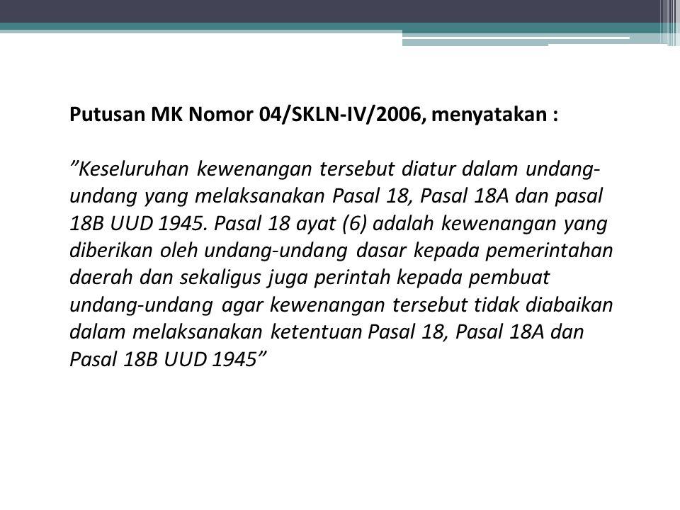 LEGAL STANDING - SKLN - JURISPRUDENSI MK Putusan MK Nomor 001/SKLN - II/2004 Putusan MK Nomor 002/SKLN – IV/2006 ……Bahwa KPU Kota Depok merupakan KPUD yang kewenangannya diberikan oleh undang-undang dalam hal ini UU Pemda.