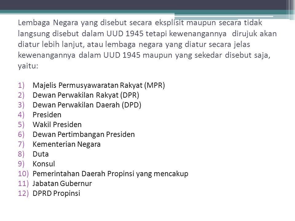 4 badan-badan lain yang fungsinya berkaitan dengan kekuasaan kehakiman KY UUD 1945 PUSAT DAERAH TUN Militer Agama Umum Lingkungan Peradilan PEMDA PROVINSI DPRDKPD PEMDA KAB/KOTA DPRDKPD kpu bank sentral DPRDPDMPR PERWAKILAN BPK PROVINSI LEMBAGA-LEMBAGA DALAM SISTEM KETATANEGARAAN menurut UUD Negara Republik Indonesia Tahun 1945 BPKMAMK TNI/POLRI dewan pertimbangan Kementerian Negara Presiden/ Wakil Presiden I I