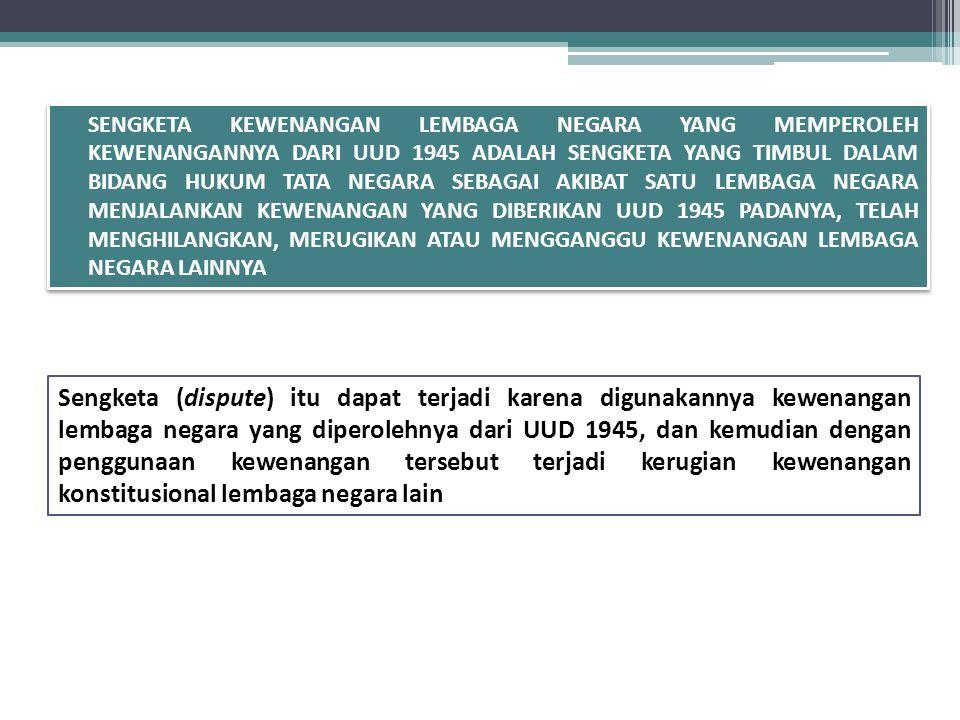 Beberapa Putusan MK tentang SKLN  SKLN I: Antara anggota DPD melawan Presiden dgn DPR 14 November 2004: Kewenangan Pemilihan BPK (068/SKLN-II/2004)  Ukuran Legal Standing SKLN dalam Putusan SKLN Bupati Bekasi (004/SKLN-IV/2006)  MK Menunda Pemilukada Aceh (1/SKLN-X/2012)  Divestasi Saham Newmont harus persetujuan DPR (2/SKLN-X/2012)  KPU berwenang melaksanakan Tahapan Pemilu Gubernur Papua (3/SKLN-X/2012)