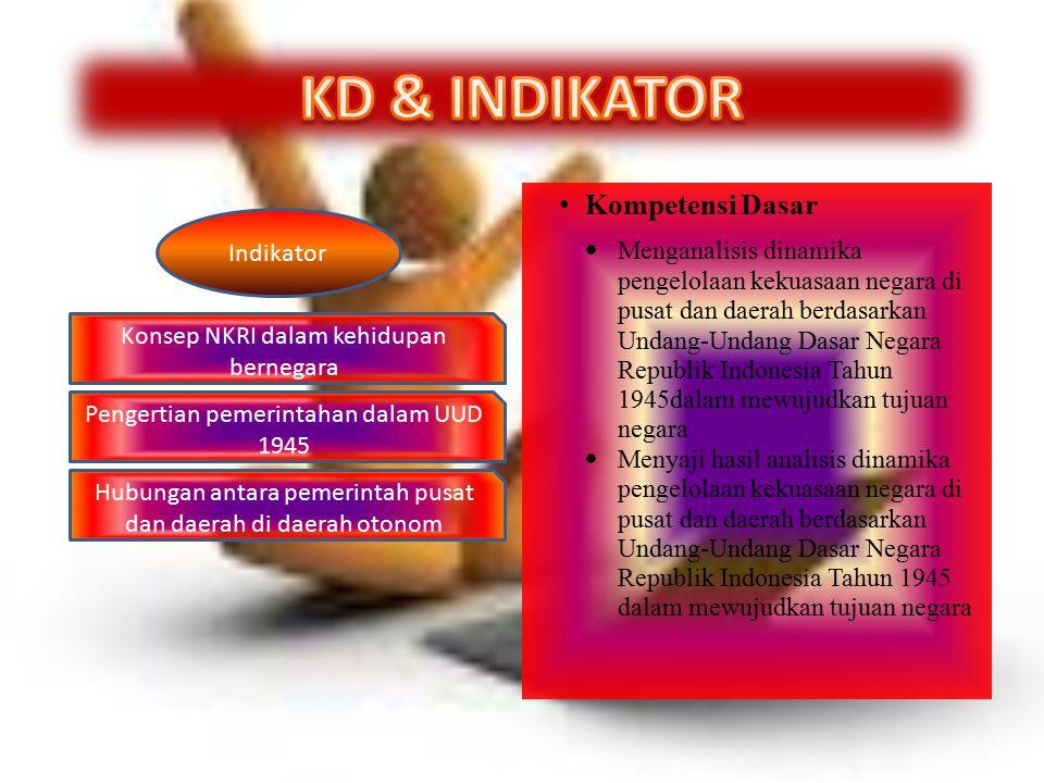 Kompetensi Dasar  Menganalisis dinamika pengelolaan kekuasaan negara di pusat dan daerah berdasarkan Undang-Undang Dasar Negara Republik Indonesia Ta