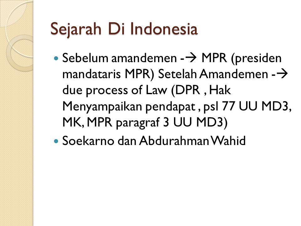 Sejarah Di Indonesia Sebelum amandemen -  MPR (presiden mandataris MPR) Setelah Amandemen -  due process of Law (DPR, Hak Menyampaikan pendapat, psl