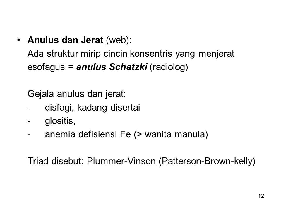 12 Anulus dan Jerat (web): Ada struktur mirip cincin konsentris yang menjerat esofagus = anulus Schatzki (radiolog) Gejala anulus dan jerat: -disfagi, kadang disertai -glositis, -anemia defisiensi Fe (> wanita manula) Triad disebut: Plummer-Vinson (Patterson-Brown-kelly)