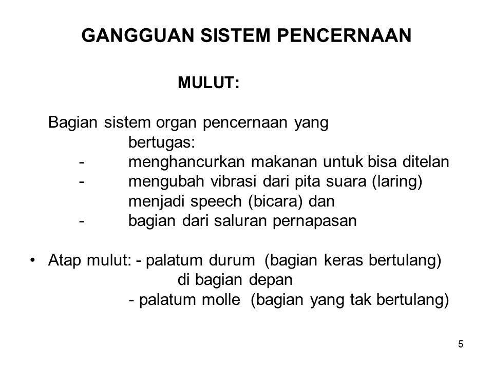 5 GANGGUAN SISTEM PENCERNAAN MULUT: Bagian sistem organ pencernaan yang bertugas: -menghancurkan makanan untuk bisa ditelan -mengubah vibrasi dari pit