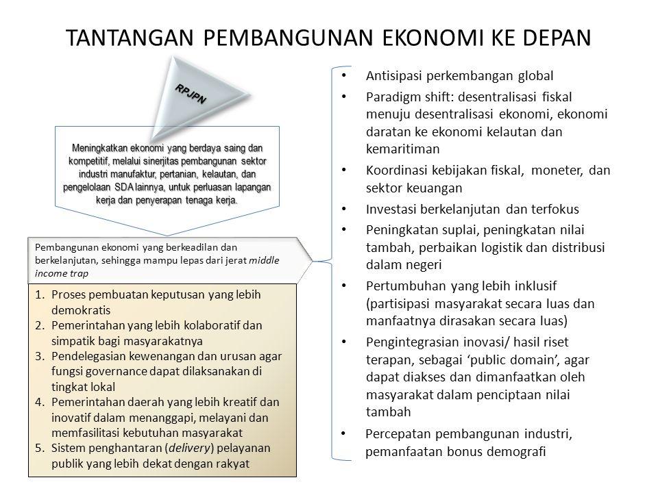Meningkatkan ekonomi yang berdaya saing dan kompetitif, melalui sinerjitas pembangunan sektor industri manufaktur, pertanian, kelautan, dan pengelolaan SDA lainnya, untuk perluasan lapangan kerja dan penyerapan tenaga kerja.