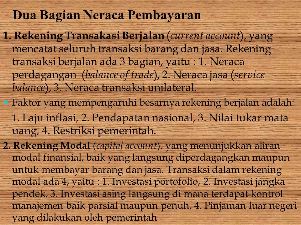 Dua Bagian Neraca Pembayaran 1. Rekening Transakasi Berjalan ( current account ), yang mencatat seluruh transaksi barang dan jasa. Rekening transaksi