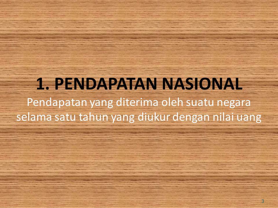 1. PENDAPATAN NASIONAL Pendapatan yang diterima oleh suatu negara selama satu tahun yang diukur dengan nilai uang 3