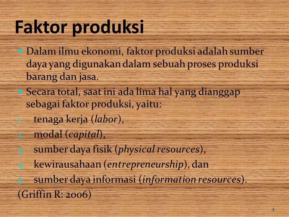 Faktor produksi Dalam ilmu ekonomi, faktor produksi adalah sumber daya yang digunakan dalam sebuah proses produksi barang dan jasa. Secara total, saat
