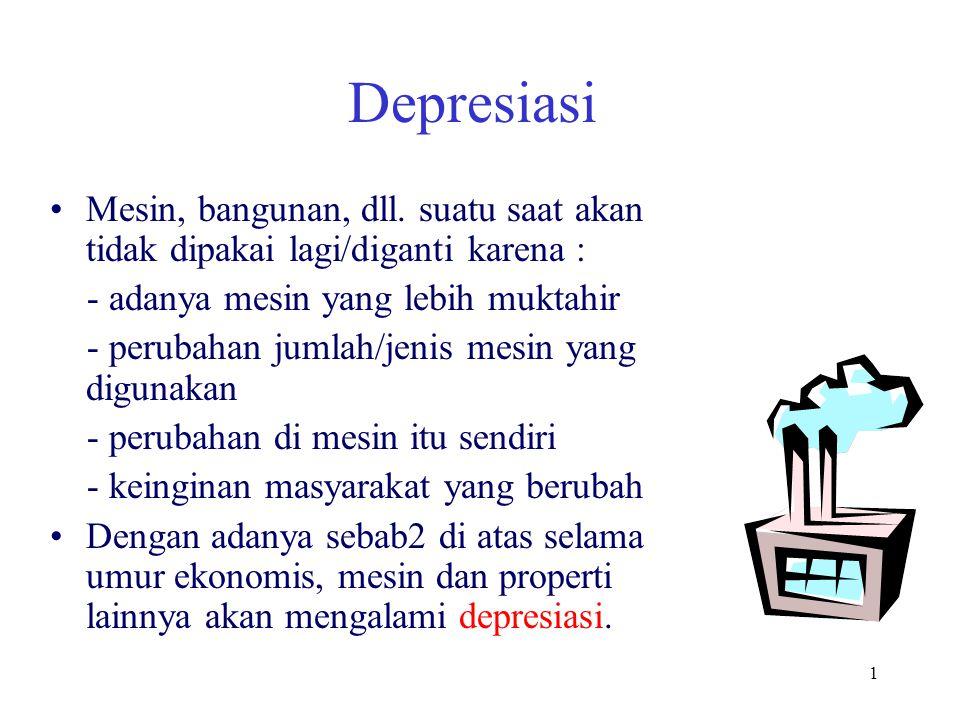 2 Depresiasi Definisi: Pengurangan dari nilai suatu asset tetap Depresiasi selama 1 thn = nilai asset pada awal tahun ke i – nilai asset pada akhir tahun ke i Contoh: Pembelian sebuah mobil seharga $15,000 pada awal tahun 2000.