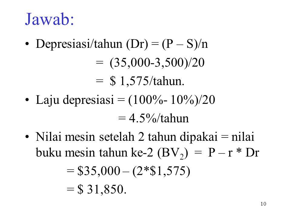Jawab: Depresiasi/tahun (Dr) = (P – S)/n = (35,000-3,500)/20 = $ 1,575/tahun. Laju depresiasi = (100%- 10%)/20 = 4.5%/tahun Nilai mesin setelah 2 tahu
