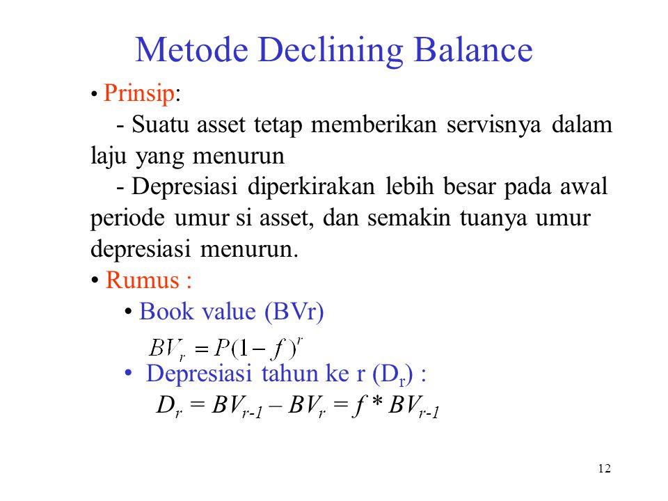 12 Metode Declining Balance Prinsip: - Suatu asset tetap memberikan servisnya dalam laju yang menurun - Depresiasi diperkirakan lebih besar pada awal
