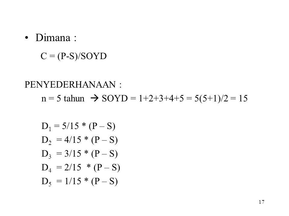 17 Dimana : C = (P-S)/SOYD PENYEDERHANAAN : n = 5 tahun  SOYD = 1+2+3+4+5 = 5(5+1)/2 = 15 D 1 = 5/15 * (P – S) D 2 = 4/15 * (P – S) D 3 = 3/15 * (P –